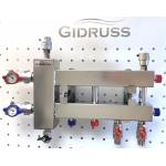 : фото Балансировочный коллектор компактный BMKSS-60-3D, сталь AISI 304, 2 стальных кронштейна K.UF