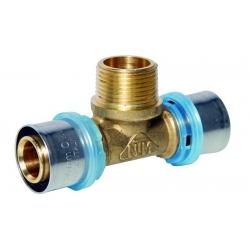 : фото Тройник с наружной резьбой 20x1/2''x20 для металлопластиковых труб прессовой