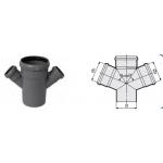 : фото Крестовина одноплоскостная 110x110x110 87° канализационная серая  Sinikon