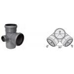 : фото Крестовина двухплоскостная левая 110x110x50 87° канализационная серая Sinikon