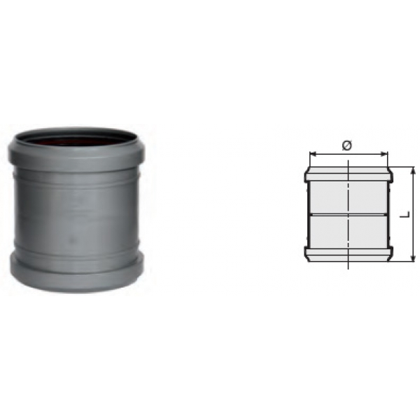 Муфта прямая канализационная серая 110 мм SINIKON фото 1