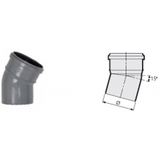 Отвод 15° канализационный серый 32 мм Sinikon фото 1