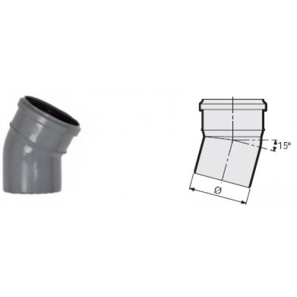 Отвод 15° канализационный серый 50 мм SINIKON фото 1