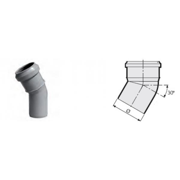 Отвод 30° канализационный серый 110 мм SINIKON фото 1