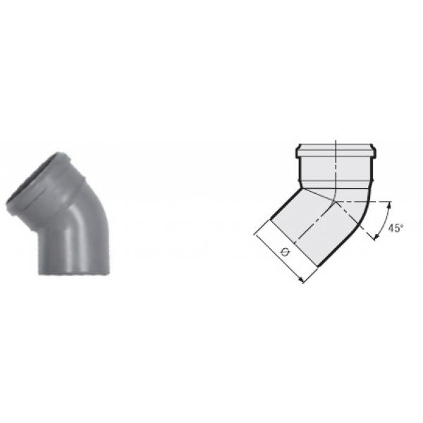 Отвод 45° канализационный серый 50 мм SINIKON фото 1
