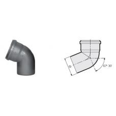 Отвод 67° канализационный серый 40 мм SINIKON фото 1