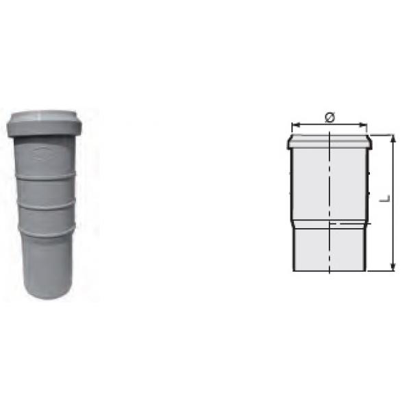 Компенсационный патрубок утроенной длины 165 мм канализационный серый диаметр 50 мм SINIKON фото 1