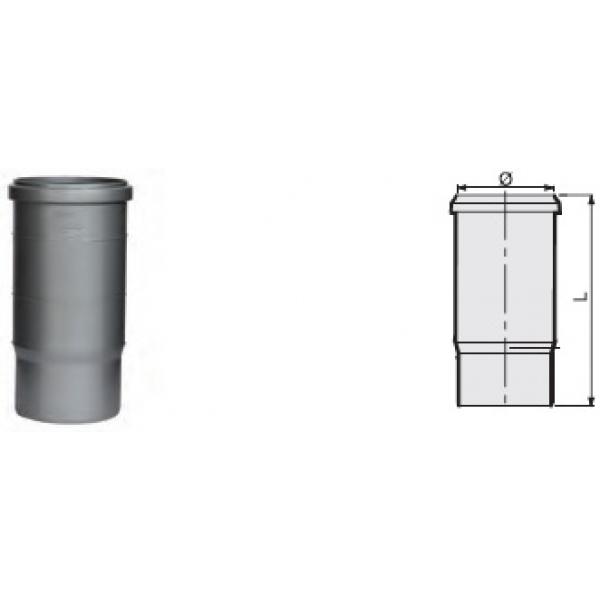 Компенсационный патрубок учетверённой длины 245 мм канализационный серый диаметр 110 мм SINIKON фото 1