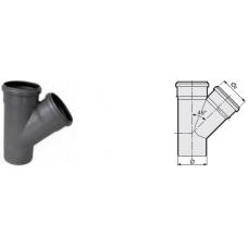 Тройник 45° канализационный серый 50x50x50 мм SINIKON фото 1