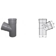 Тройник 67° канализационный серый 50x50x50 мм SINIKON фото 1