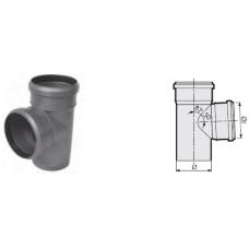 Тройник 87° канализационный серый 110x50x110 мм Sinikon фото 1