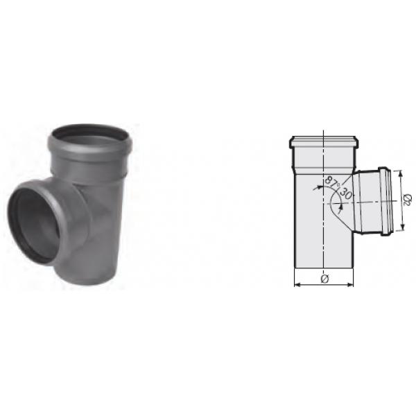 Тройник 87° канализационный серый 40x40x40 мм SINIKON фото 1