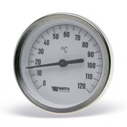 : фото Термометр биметаллический  с погружной гильзой, 63 мм Watts F R801 (T) 63/50, штуцер 50 мм