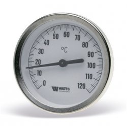 : фото Термометр биметаллический  с погружной гильзой, 50 мм Watts F R801 (T) 63/50, 0-160 С