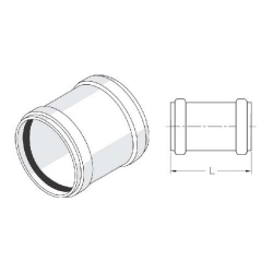 : фото Муфта надвижная с резиновым уплотнительным кольцом 110 Rehau