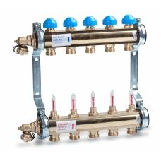 Коллектор для теплых полов с расходомерами Watts 1'' x 7 выходов HKV/T-7 фото 1