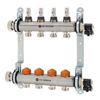 Распределительный коллектор Heimeier Dynacon Eclipse AFC на 4 контура с расходомерами, нерж. сталь
