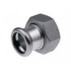 : фото Cоединитель с накидной гайкой, с плоским уплотнением press KAN-therm Inox, нержавеющая сталь