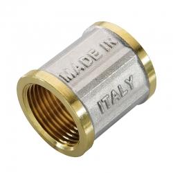 : фото Муфта ВВ никелированная 1 1/2х1 1/2 для стальных труб резьбовой N.T.M.
