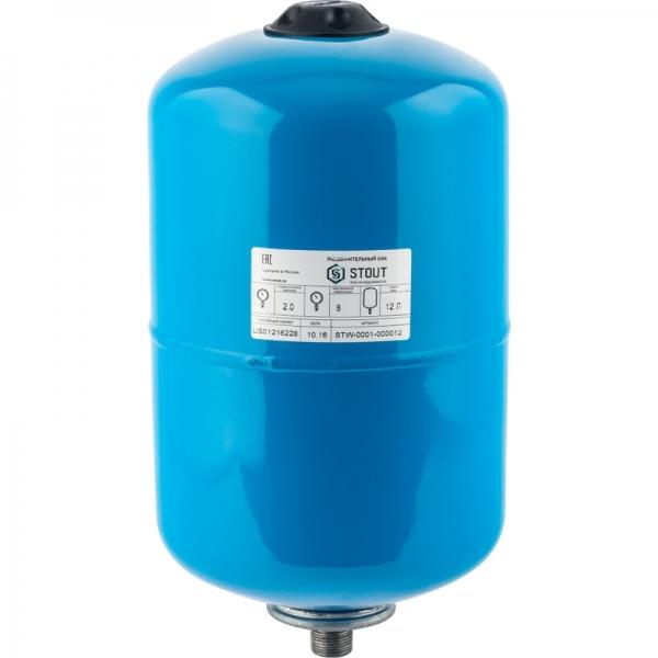 Гидроаккумулятор для водоснабжения (STOUT) Varem, 12 л, синий, с дифрагмой фото 1