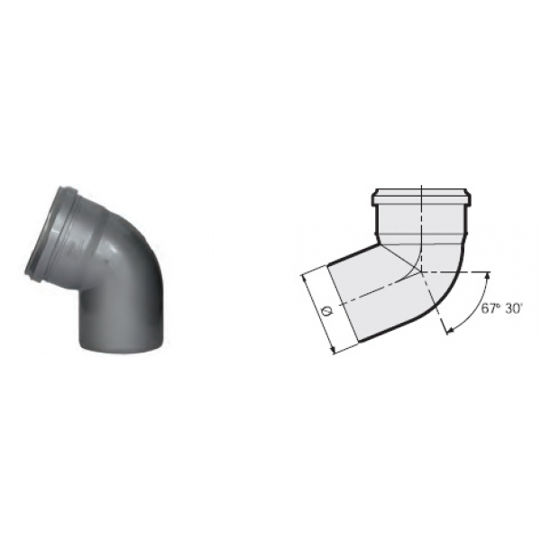 Отвод 67° канализационный серый 50 мм SINIKON фото 1