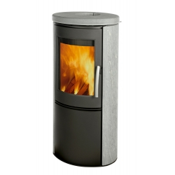 : фото Печь-камин Varde Shape 1, серая сталь, талькомагнезит