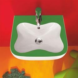 : фото Подвесная мини-раковина Laufen FLORAKIDS 45x41 зеленая 8.1503.1.072.104.1
