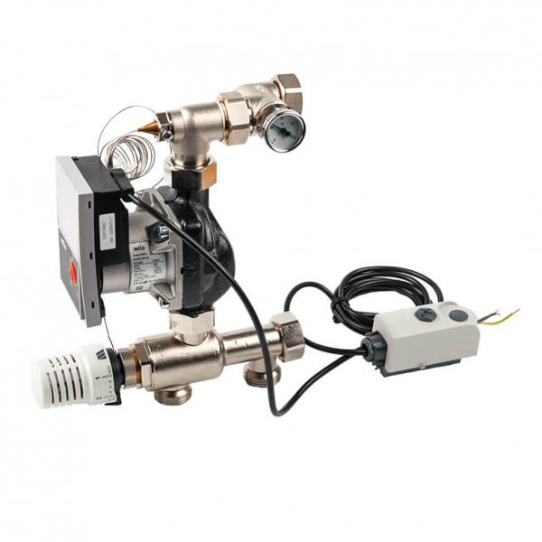"""Насосно смесительный модуль WATTS ISOMIX-F для коллекторов из нержавеющей стали, с термоголовкой, 1"""", 14 квт фото 1"""