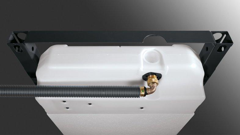 Возможность подключения унитаза-биде: в элементах для унитазов Prevista Dry подключение холодной воды удобно выполняется с помощью гофротрубы, проложенной от углового вентиля в смывном бачке до соединительного штуцера унитаза-биде.