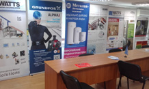 Циркуляционные насосы Alpha3 Grundfos выставочный стенд в Екатеринбурге